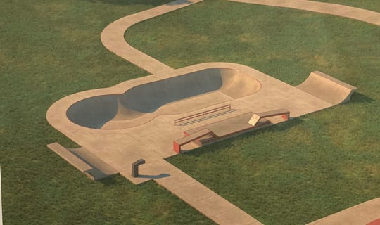A preliminary design of what the skate park in Maple Lake park may look like, based on a design from Spohn Ranch Skateparks.
