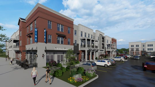 A preliminary rendering shows the Lakeland Commons development.