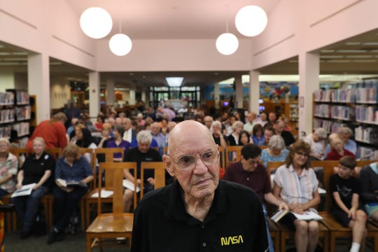 Bill Weppner, a former NASA flight controller who worked on the space program's Apollo missions, at the Germantown library to talk about his experiences Tuesday, June 18, 2019.