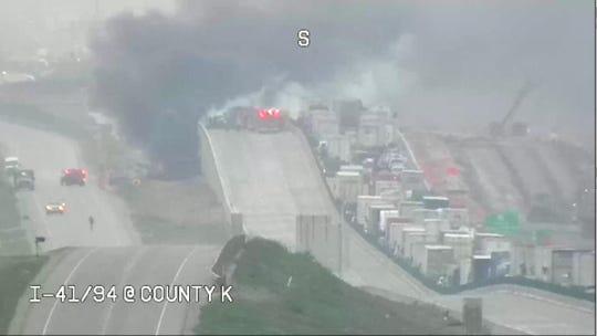 Semi crash, fire closes I-41 in Racine County