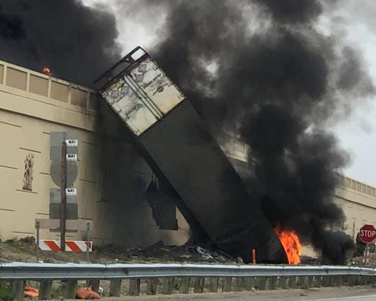 Jeffrey Johnson died in this fiery crash June 19, when he veered off an I-94 overpass to avoid hitting cars that had crashed when a piece of concrete median was suddenly pushed into northbound lanes by a southbound truck.