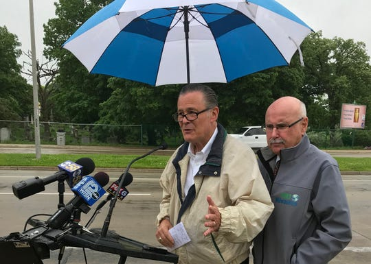 Ald. Bob Donovan and Ald. Mark Borkowski at a news conference Wednesday morning.