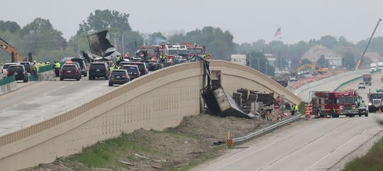 The scene of a fiery crash that has closed all northbound and southbound lanes on I-41/94 at County K near Mount Pleasant.