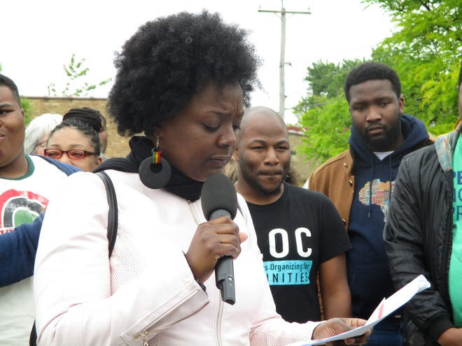 Markasa Tucker, director of the African American Roundtable, speaks in June at a launch for Liberate MKE, a campaign to redirect budget funding from police to other departments.