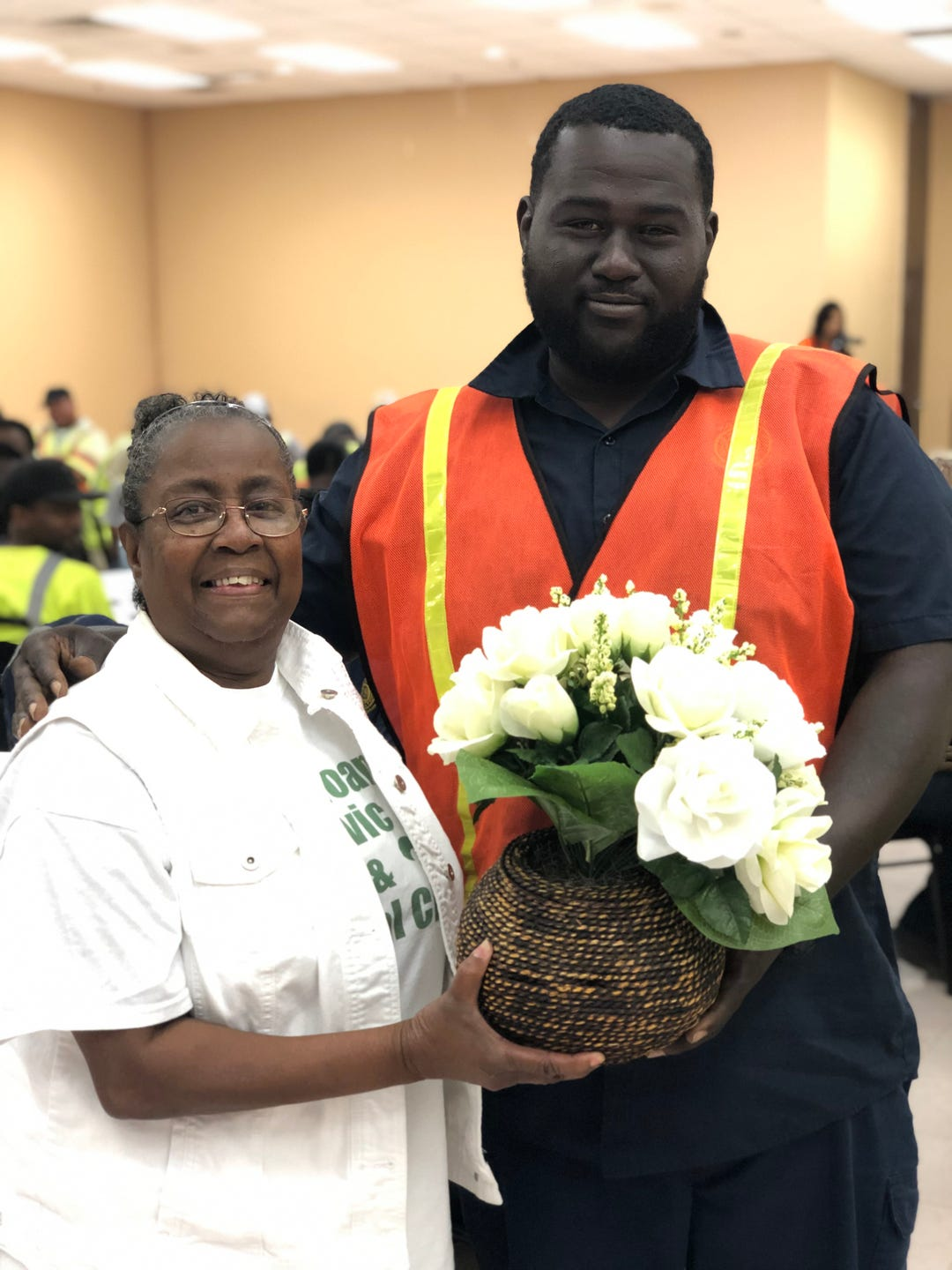 Monroe Sanitation Workers were awarded door prizes provided by local businesses at an event sponsored by the Samoan Civic & Social Club and Allen Green Williamson LLP for National Garbage Man Day.
