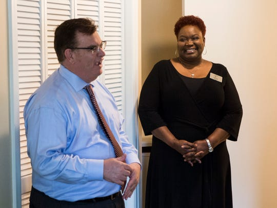 J.J. Allen, regional director of sales and marketing, and executive director Coretha Slayton show the newly renovated rooms at the Landings of Montgomery assisted living home in Montgomery, Ala. on Tuesday, June 18, 2019.