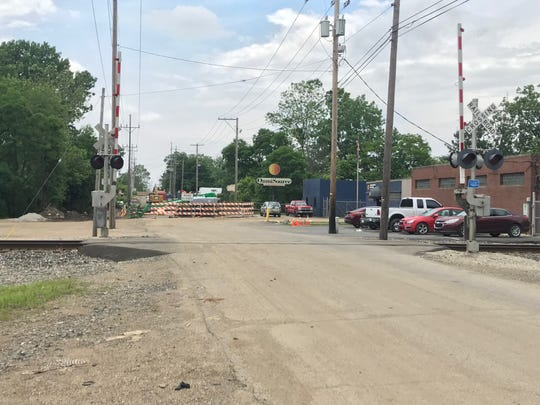 The railroad crossing on West 23rd Street, where two pedestrians were struck by a train on Wednesday morning.