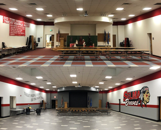 Photographs show before (top) and after (bottom) local graphic artist Chris Mullett repainted Selma Middle School's cafeteria.