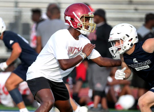 Riverdale sophomore Elijah Herring battles during the Blackman 7-on-7 tournament Tuesday. Herring already has received two SEC football offers.