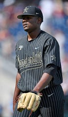 Vanderbilt pitcher Kumar Rocker walks back to the dugout at the end of the sixth inning against Mississippi State on Wednesday.