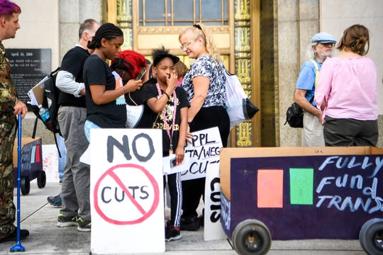 People make their views known about budget proposals before the  Metro Council meeting Tuesday, June 18, 2019.