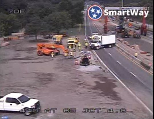A crash involving a truck has blocked the eastbound lanes of I-440 Wednesday, June 19, 2019