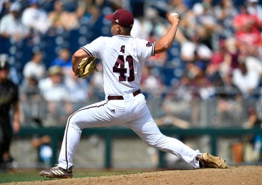 Mississippi State pitcher Colby White (41) throws in relief in the fifth inning against Vanderbilt in the 2019 NCAA Men's College World Series at TD Ameritrade Park Wednesday, June 19, 2019, in Omaha, Neb.