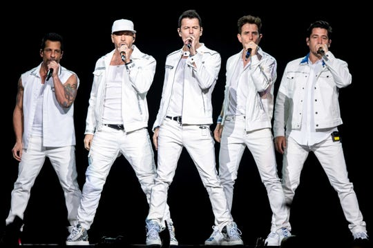 The New Kids on the Block perform at Bridgestone Arena in Nashville, Tenn., Thursday, May 9, 2019.