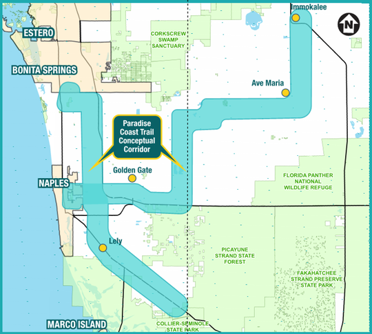 A map showing the proposed path of the Paradise Coast Corridor, a bike trail project supported by the Naples Pathways Coalition.