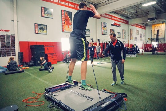 An athlete builds strength and endurance at Parisi Speed School in Fair Lawn.