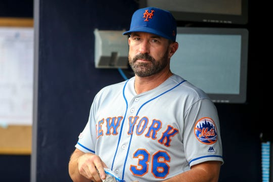 Jun 18, 2019; Atlanta, GA, USA; New York Mets manager Mickey Callaway (36) in the dugout before a game against the Atlanta Braves at SunTrust Park.