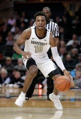 In this Nov. 16, 2018 photo, Vanderbilt guard Darius Garland brings the ball up against Alcorn State during an NCAA college basketball game in Nashville, Tenn. Ja Morant, Darius Garland and Coby White make up a clear top tier of point guards in this week's NBA draft.