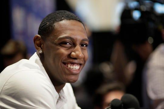 RJ Barrett, a basketball player from Duke, attends the NBA Draft media availability, Wednesday, June 19, 2019, in New York. The draft will be held Thursday, June 20.