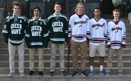 Tyler Kobryn, Andrew Petrillo and Anthony Farinacci from Delbarton; Kyle Beyer, Jakob DeFares and Evan Szary, of Morristown for the Daily Record ice hockey first team March 16, 2016. Parsippany, N.J.