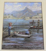 Elene Corder's paiting depicts several NMSU deans fishing in the newly filled Caballo Lake in about 1938.