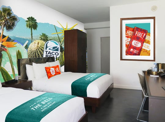A rendering of Taco Bell-themed double room decor and amenities planned for The Bell. Reservations for the first ever Taco Bell pop-up hotel open June 27, 2019. The Bell will take over V Palm Springs, 333 E. Palm Canyon Drive, Aug. 8-12.