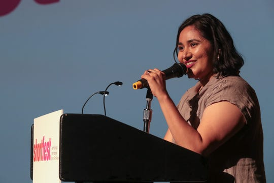 Artistic Director Liliana Rodriguez welcomes filmmakers and audience members to the Palm Springs International Short Film Festival, Palm Springs, Calif., June 18, 2019.