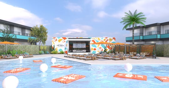 A rendering of the Taco Bell-themed pool decor and facilities planned for The Bell. Reservations for the first Taco Bell pop-up hotel open on June 27, 2019. Bell will take over V Palm Springs, 333 E. Palm Canyon Drive, August 8-12.
