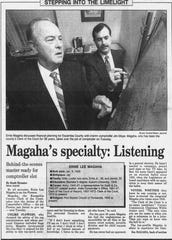A July 26, 1995 article features Ernie Lee Magaha taking over the county comptroller position.