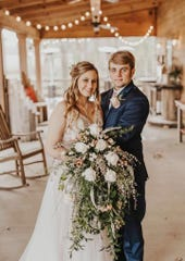 Starlin and Dalton Dickerson, a Mississippi couple who married in February, were vacationing with family in Perdido Key when a massive fire broke out Wednesday. Escambia County firefighters saved Starlin Dickerson's wedding ring from inside the burning house.