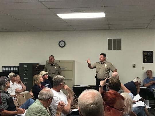 Northern York County Regional Police Chief Mark Bentzel (right) and Lt. Greg Anderson present the proposed policing contract to North Codorus Residents on June 18, 2019.