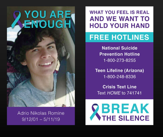 A card with Adrio's picture next to mental health resources.
