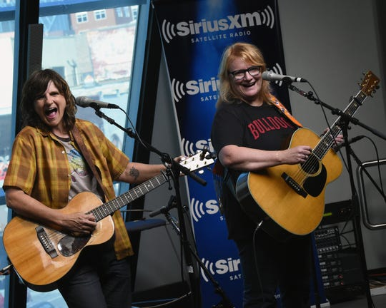 Amy Ray (left) and Emily Sailers of Indigo Girls perform in the SiriusXM Studios on September 22, 2015, in Nashville.