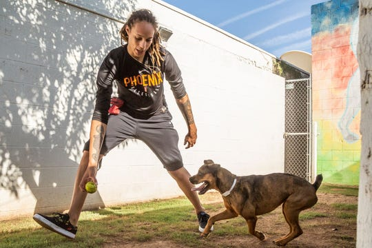 Phoenix Mercury center Brittney Griner during her visit this week at the Arizona Human Society.