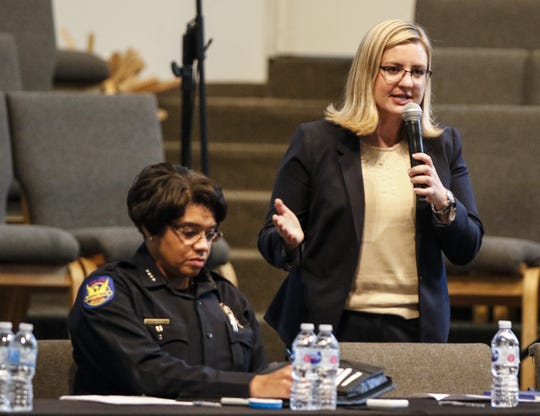 With Phoenix Police Chief Jeri Williams at her side Phoenix Mayor Kate Gallego adresses the crowd on hand at at the Pilgrim Rest Baptist Church in Phoenix, June 18, 2019.