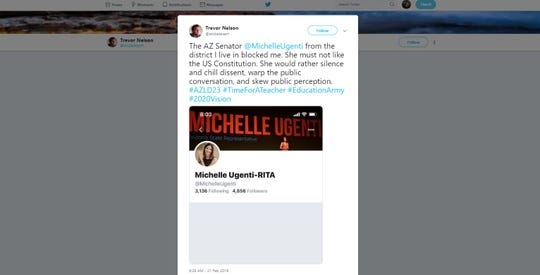 Valley resident Trevor Nelson says state Sen. Michelle Ugenti-Rita blocked him on Twitter, a practice he and many others say is questionable.