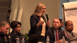 Phoenix Mayor Kate Gallego addresses the community at a meeting to discuss issues within the Phoenix Police Department.