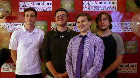 Director's Choice award recipients in Montefiore Hudson Valley Collaborative's Vaping Prevention Contest are Phillip Rottkamp, left to right, Chris Piatek, Eric Adolfsson and Matthew Sanzo of Spackenkill High School.