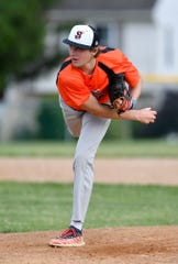 Austin Rolfing delivered five innings for Stoverstown, allowing Pleasureville one run, Tuesday, June 18, 2019.