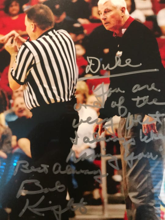 Duke Edsall gave legendary coach Bobby Knight the last technical foul of his career. Later, Knight signed a copy of the photo and sent it back to him.