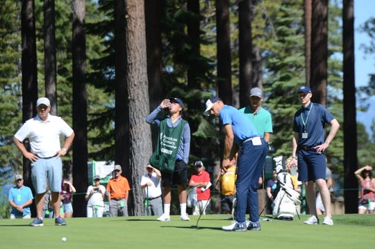 Steph Curry putts last summer at Edgewood Tahoe during the ACC golf tournament.