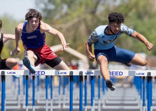 Matt Williams on his way to winning the 110 hurdles race in the  Regional track  and field meet last spring