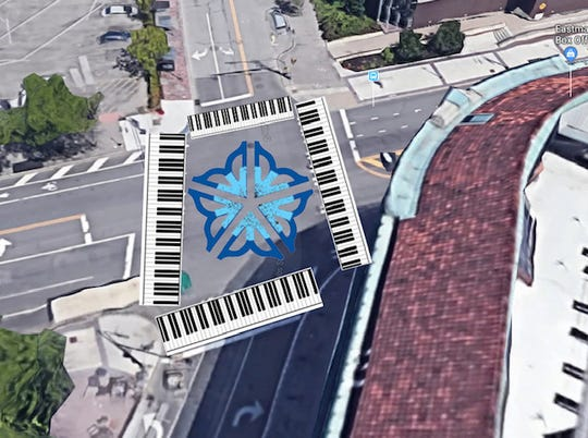 Rendering of art planned for East Main and Gibbs streets intersection.