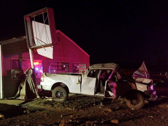 Police: Driver's crash knocks down utility pole on Highway 99E