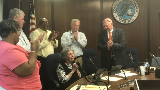 Audrey Furness speaks after being honored for her 36 years as a member of the Accomack County School Board, during a meeting on Tuesday, June 18, 2019 in Accomac, Virginia. Furness announced previously she will not seek another term on the board.