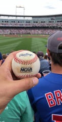 Austin Buysse, 23, caught a home run baseball at the College World Series in Omaha on Monday. The catch was caught on video and has gone viral on social media.
