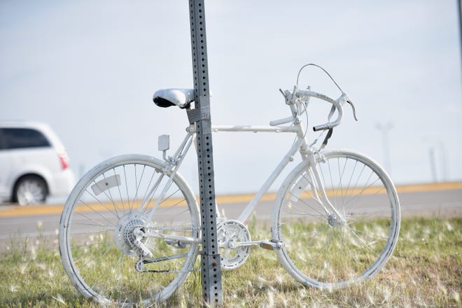 A white Ghost Bike was placed at the location of where Kenneth Gunderson was killed on June 11. This is the second ghost bike placed in Sioux Falls since 2015.