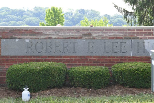 Work begins to change out signage at Robert E. Lee High School, which reverts to the pre-1914 name of Staunton High School officially July 1. Renovation work is well under way on the campus, as evidenced in photos made Wednesday, June 19, 2019.