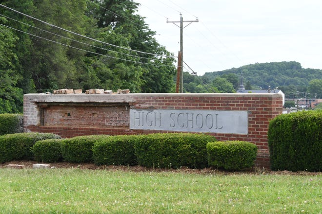 Signs are changing and work is well under way on the Staunton High School project in Staunton, in photos made Wednesday, June 19, 2019.