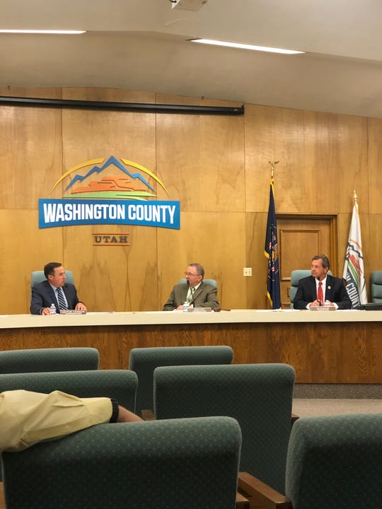 Washington County Commissioners (from left to right) Victor Iverson, Dean Cox and Gil Almquist talk about the local state tax that will provide funds for roads and public transportation.